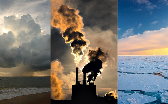 Factories contributing to greenhouse gases and the melting of ice due to global warming